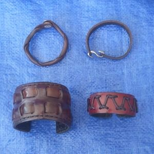 Bundle of leather tribal boho cuffs